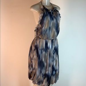 Lela Rose Print Chiffon Halter Dress Brown Size 4